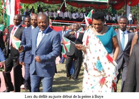 Prière d'action de grâce organisée par la Famille présidentielle à Buye.